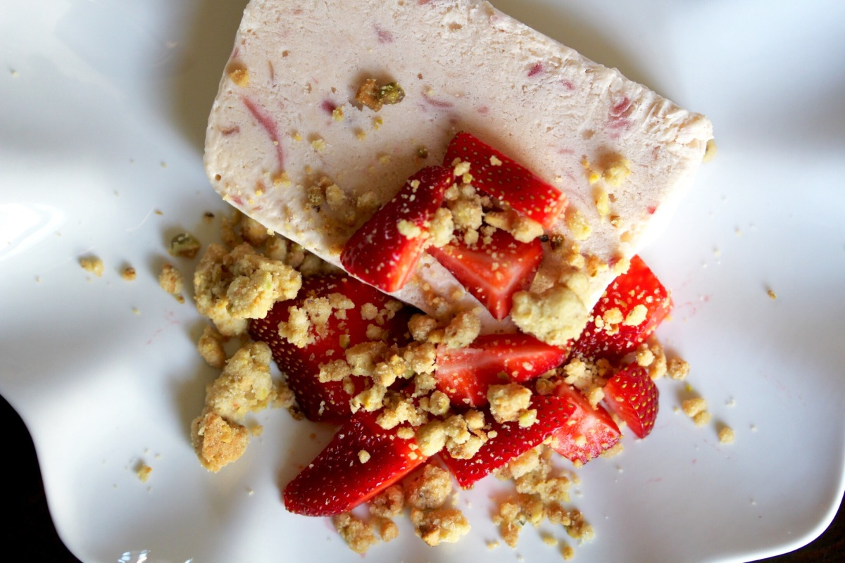 Strawberry Sidekick: Rhubarb Semifreddo with Pistachio Crumbles